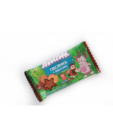 """Батончик """"Лунтик Овсянка с фруктами в шоколадной глазури""""  40 гр"""